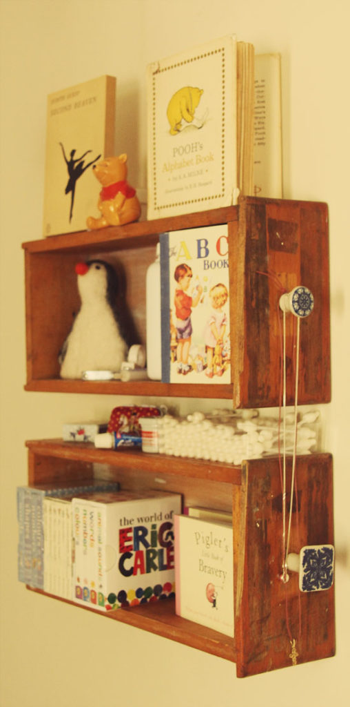 Baby Book Shelves in ChickPea's Room