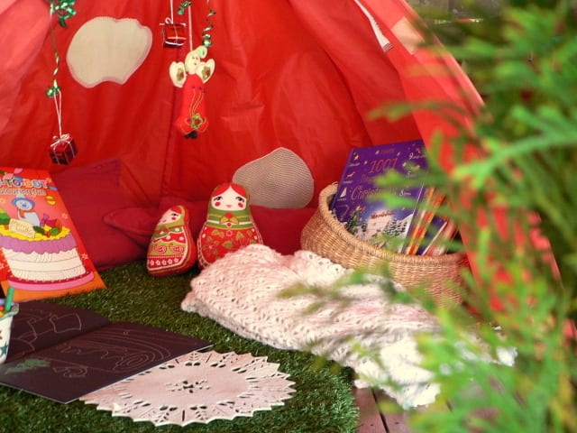 Inside of christmas tent