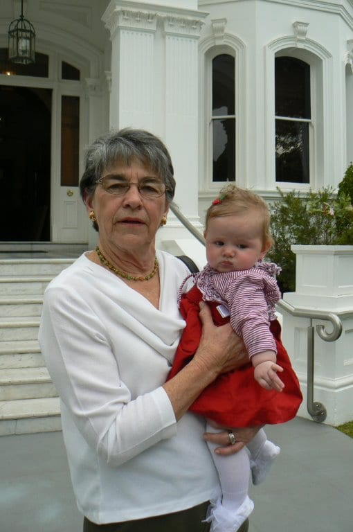 Beth with PudStar at 7 weeks old - off for morning tea at Government House with Quentin Bryce.