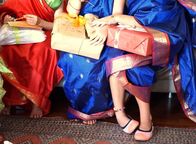 Love this photo of the girls in their sari's!