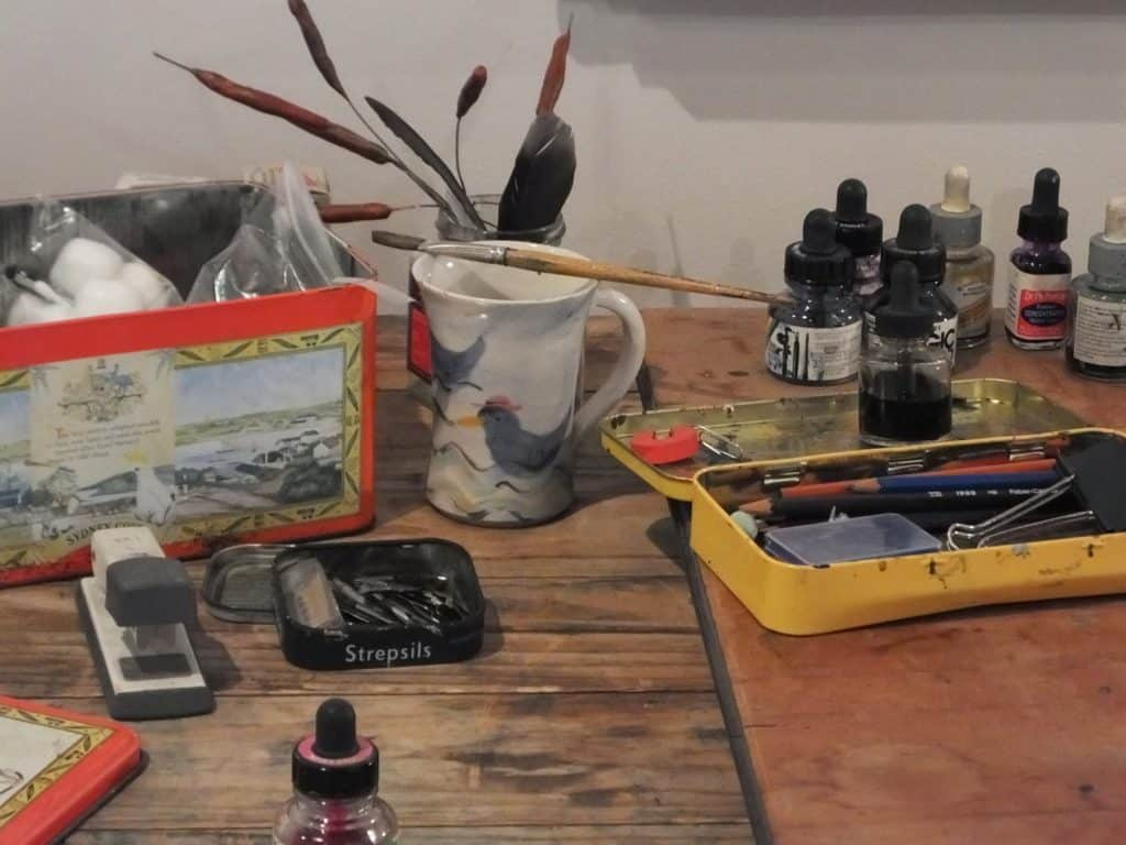 Recreation of Bob Graham's Studio at 'A Bird in the Hand' Exhibition