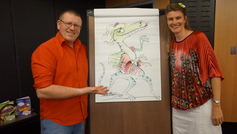 Tony Flowers draws author Kathryn Apel as a Dinosaur