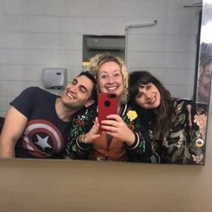 Will Kostakis, Danielle Binks, Gabrielle Tozer backstage at SWF